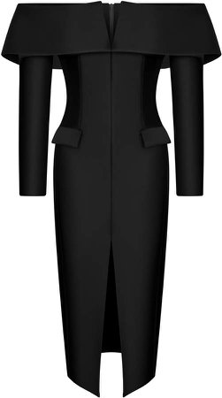 Rasario Satin Off-The-Shoulder Midi Dress
