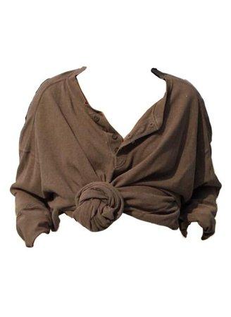 brown shirt crop tie