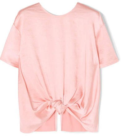 REJINA PYO - Amber Knotted Satin Top - Blush