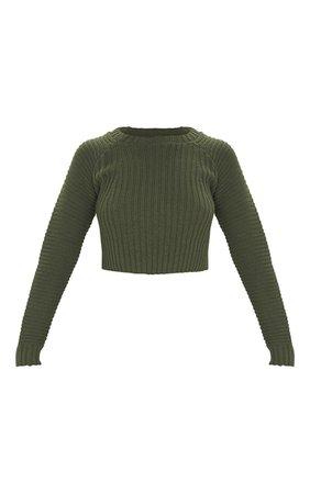 Khaki Cropped Rib Knit Jumper   Knitwear   PrettyLittleThing USA