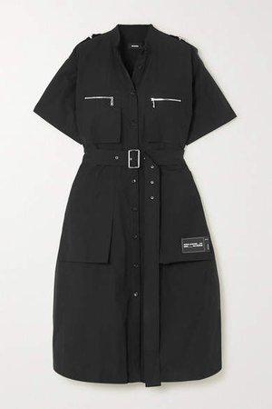 Belted Appliqued Cotton-blend Midi Dress - Black
