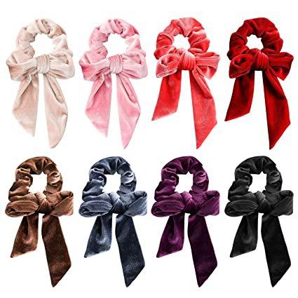 Amazon.com : Bowknot Hair Scrunchies, Velvet Elastic Hair Bands Scrunchy Hair Ties 2 in 1 Vintage Hair Accessories Ropes Scrunchie for Women & Girls (8 PCS Velvet Hair Scrunchies) : Beauty
