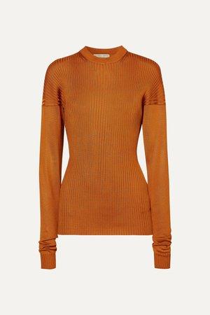 Orange Paneled ribbed silk sweater | Bottega Veneta | NET-A-PORTER