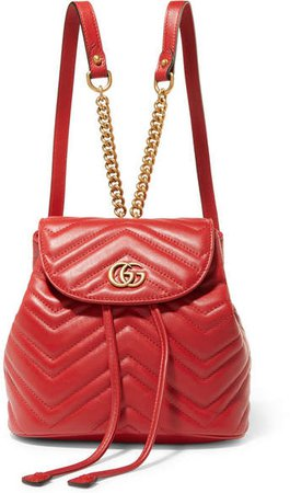 Gg Marmont Quilted Leather Backpack - Red
