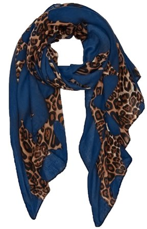 Blue and Leopard Print Scarf