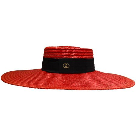 "1980s Limited Edition Red ""Gucci"" Straw Hat For Sale at 1stdibs"