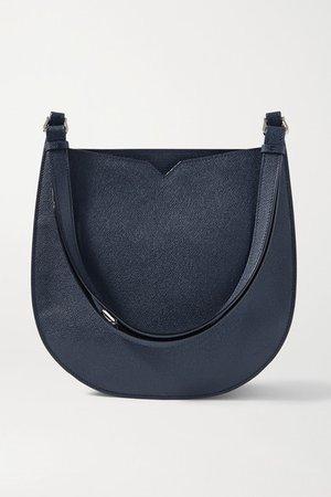 Textured-leather Shoulder Bag - Storm blue