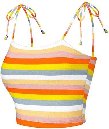 Allegra K Women's Rainbow Striped Tie Spaghetti Straps Cami Tube Top Sleeveless Summer Crop Tops X-Small Multicolor at Amazon Women's Clothing store