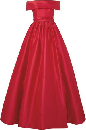 Reem Acra - Off-the-shoulder Mikado Gown - Red