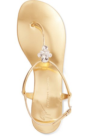 Giuseppe Zanotti   Nuvorock crystal-embellished metallic leather sandals   NET-A-PORTER.COM