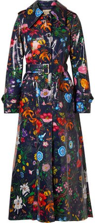 Oversized Floral-print Coated-cotton Drill Trench Coat - Navy