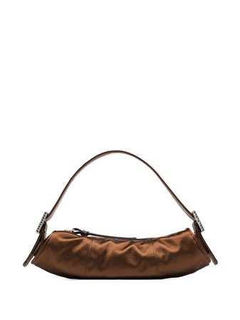 Brown BY FAR Kubi satin tote 20FWKUSCGSMED - Farfetch