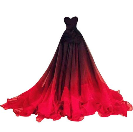 Dress long black red ball gown
