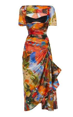 Draped Bustier Satin Midi Dress by MUGLER   Moda Operandi