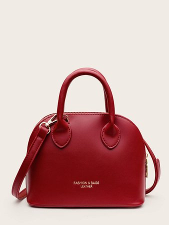Curved Top Double Handle Satchel Bag | SHEIN USA