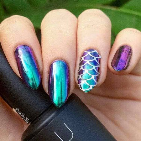 mermaid purple and teal nails
