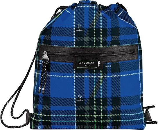 Green District Tartan Drawstring Backpack