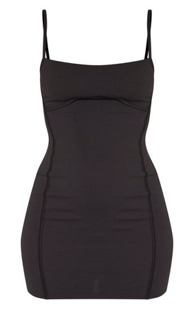 *clipped by @luci-her* Black Strappy Binding Bust Detail Bodycon Dress | PrettyLittleThing USA