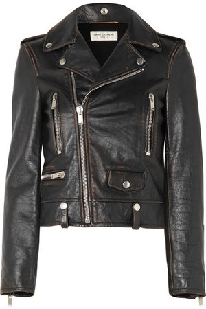 SAINT LAURENT | Distressed leather biker jacket | NET-A-PORTER.COM