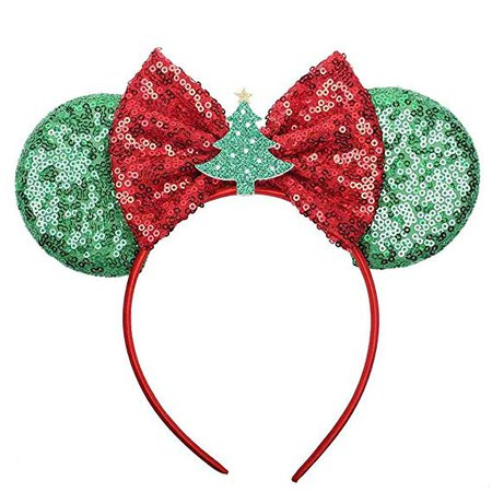 Christmas Mouse Ears Bow Headband Hair Hoop for Women Girls, Glitter Hair bands Hair Accessories Headdress for Christmas Decorations Party Supplies Hot Pink Princess Dress Up (style B) : Beauty