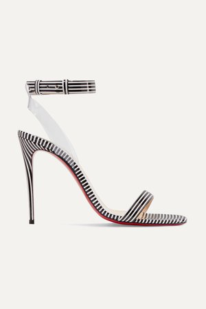Black Jonatina 100 PVC-trimmed striped patent-leather sandals | Christian Louboutin | NET-A-PORTER