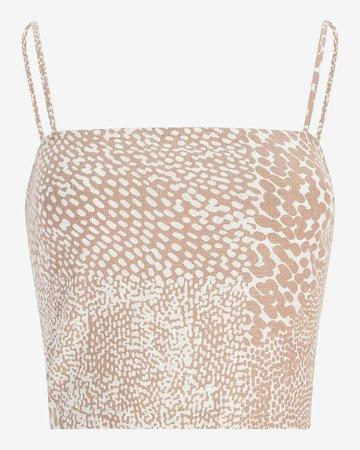 Animal Print Linen-blend Cropped Cami   Express
