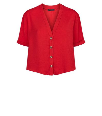 Red Herringbone Button Front Boxy Shirt | New Look