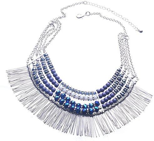 Amazon.com: LINJIE JEWELRY Ethnic Tribal Boho Beads Statement Necklace Fringe Bib Tassel Chunky (Blue): Jewelry