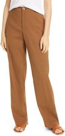 Topstitch Seam Linen Blend Trousers