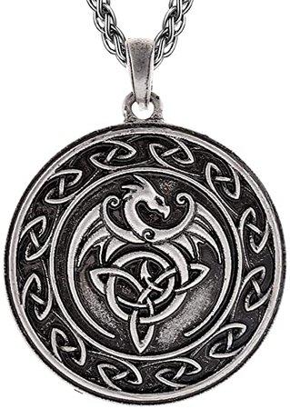 QIANJI Celtic Dragon Pendant Necklace Celtic Knot Wolf Stainless Steel Necklace Women Men Vintage Bag Package | Amazon.com