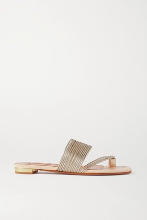 Sunny Metallic Faux Leather Sandals - Beige
