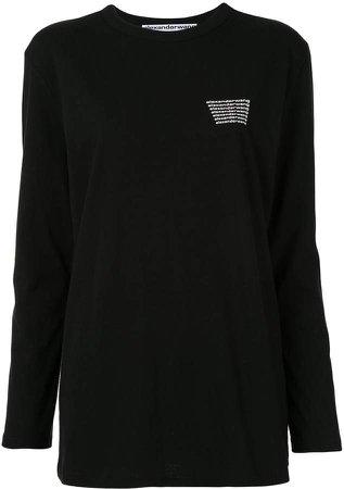 long sleeve logo print top