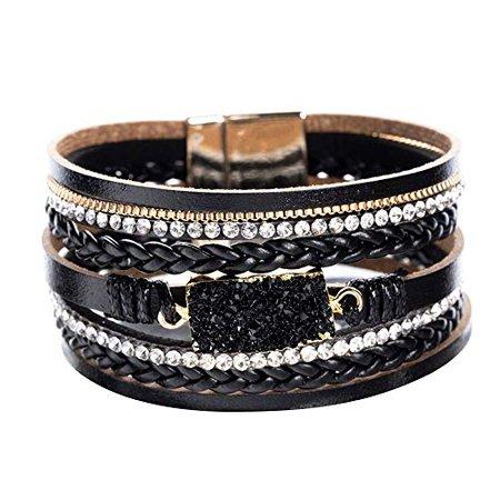 Amazon.com: Vercret Leather Wrap Bracelet for Women - Friendship Bracelets for Girl, Ideal Bangle Gift for Best Friend, Big Sister, Mom (Dark Black): Gateway