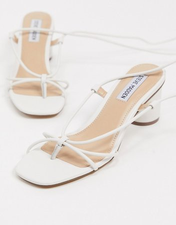 Steve Madden Ivanna strappy ankle tie heeled sandals in white | ASOS