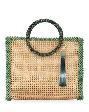 Rosantica Elle XL Beaded Straw Tote Bag | Neiman Marcus