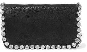 Crystal-embellished Faux Brushed-leather Shoulder Bag