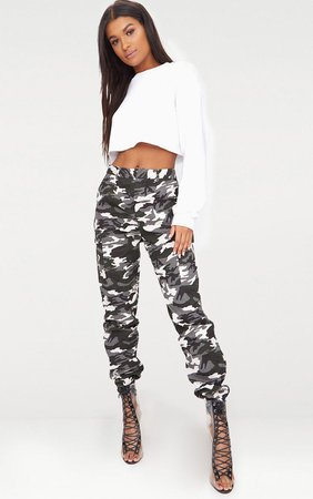 Grey Camo Print Cargo Trousers | PrettyLittleThing