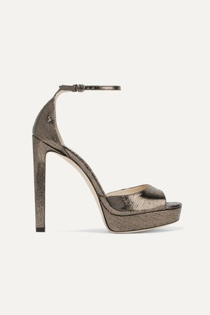 Jimmy Choo | Pattie 130 metallic lizard-effect leather platform sandals | NET-A-PORTER.COM