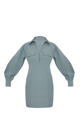 Khaki Pocket Detail Fitted Shirt Dress | PrettyLittleThing USA