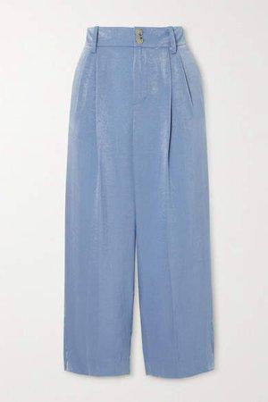Satin Straight-leg Pants - Blue