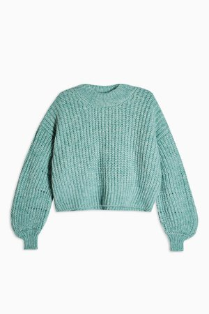 Sage Banana Sleeve Cropped Jumper | Topshop
