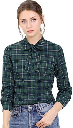 Allegra K Women's Plaid Tie Neck Button Down Long Sleeves Shirt Blouse X-Large Red at Amazon Women's Clothing store