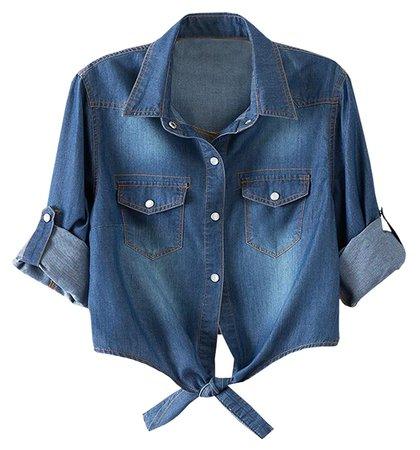LATUD Women's Roll Up Sleeves Crop Tie Top Denim Shawl Jeans Shirt