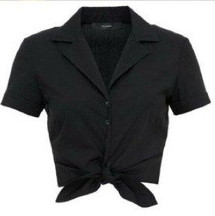black top v neck tie shirt