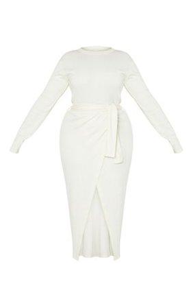 Plus Cream Thick Rib Tie Waist Wrap Midi Dress | PrettyLittleThing