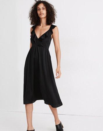 Ruffle-Front Cross-Back Midi Dress