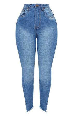 Shape Mid Wash High Waist Skinny Jeans | PrettyLittleThing USA