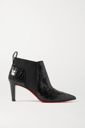 Tchakaboot 70 Croc-effect Leather Ankle Boots - Black