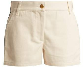 Web Stripe Cotton Drill Shorts - Womens - Cream
