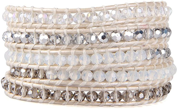 KELITCH Gray Crystal Mix Beaded 5 Wrap Bracelet Handmade Lvory Natural Leather Strand Bracelets New: Jewelry